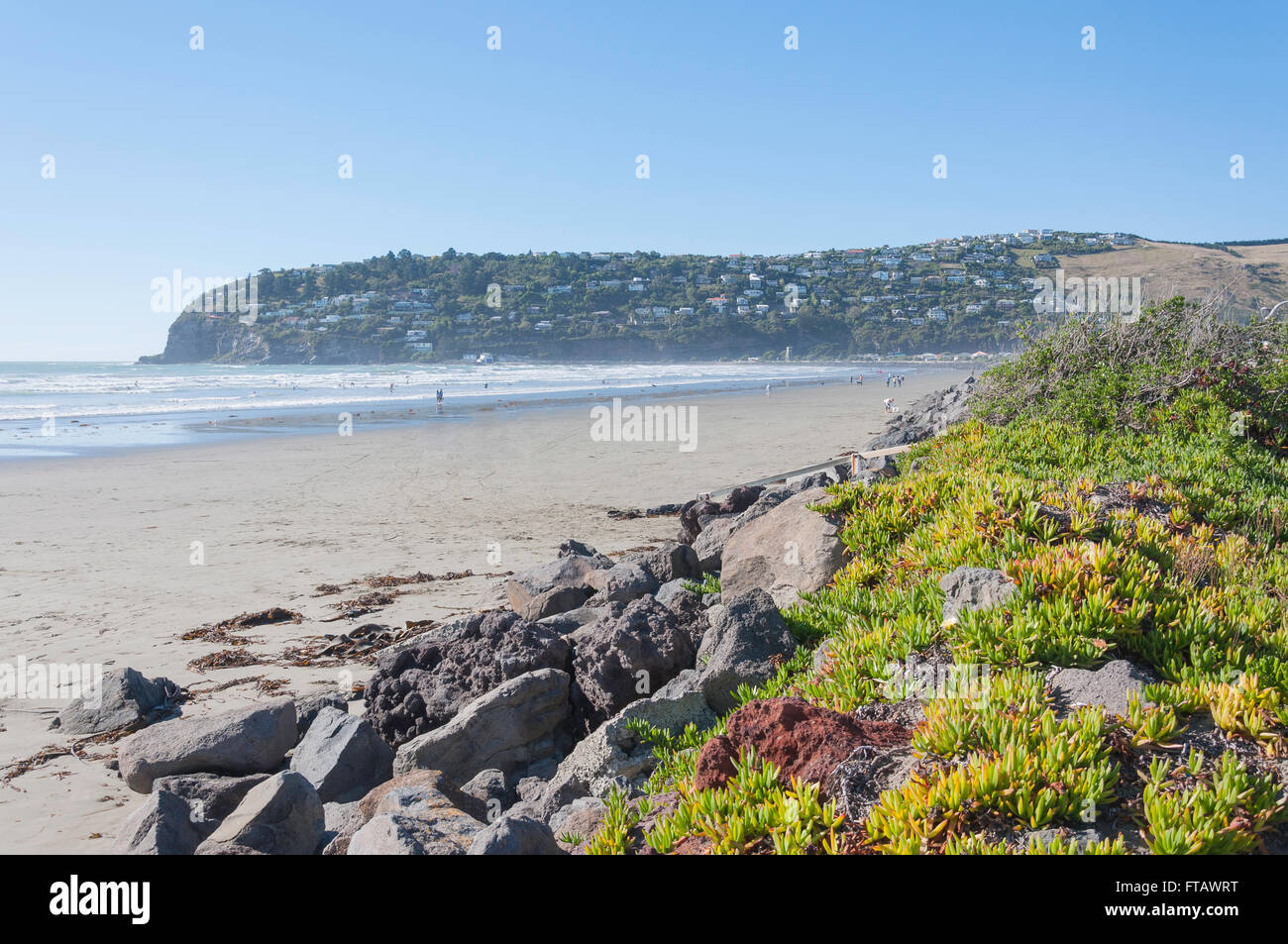 Scarborough Beach and Heads, Sumner, Christchurch, Canterbury Region, South Island, New Zealand - Stock Image