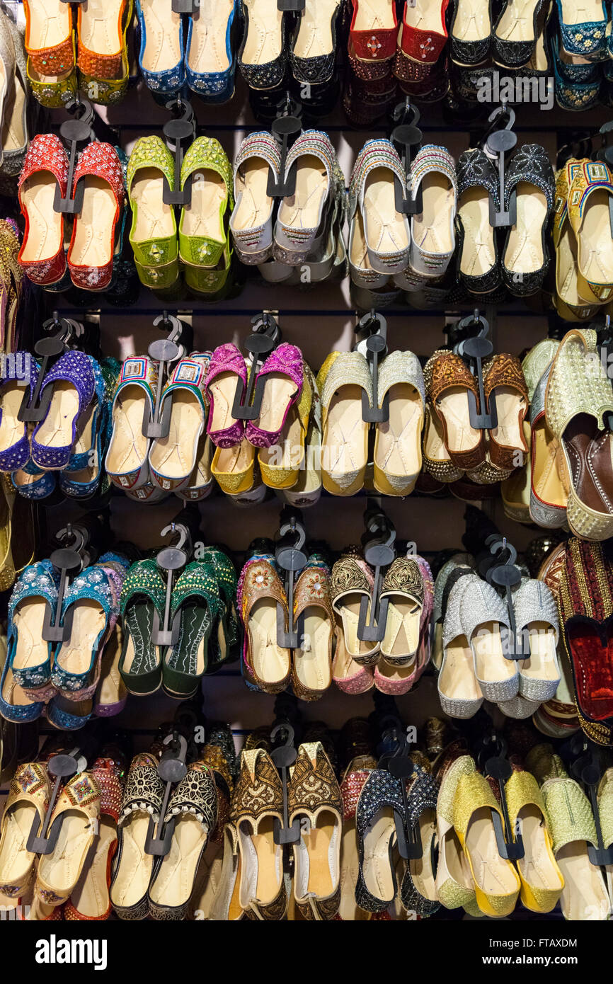 a9dee959e45d Indian and Oriental shoes and slippers on retail display Stock Photo ...