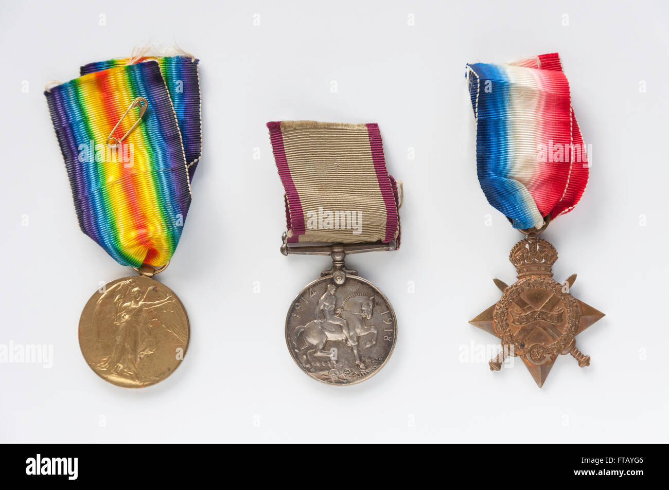 New Zealand World War I infantry medals with ribbons, Christchurch, Canterbury Province, New Zealand - Stock Image
