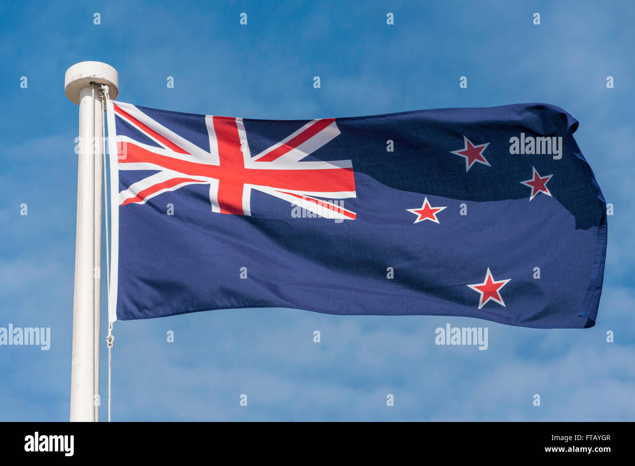 New Zealand flag flying, Redcliffs, Christchurch, Canterbury Province, New Zealand - Stock Image