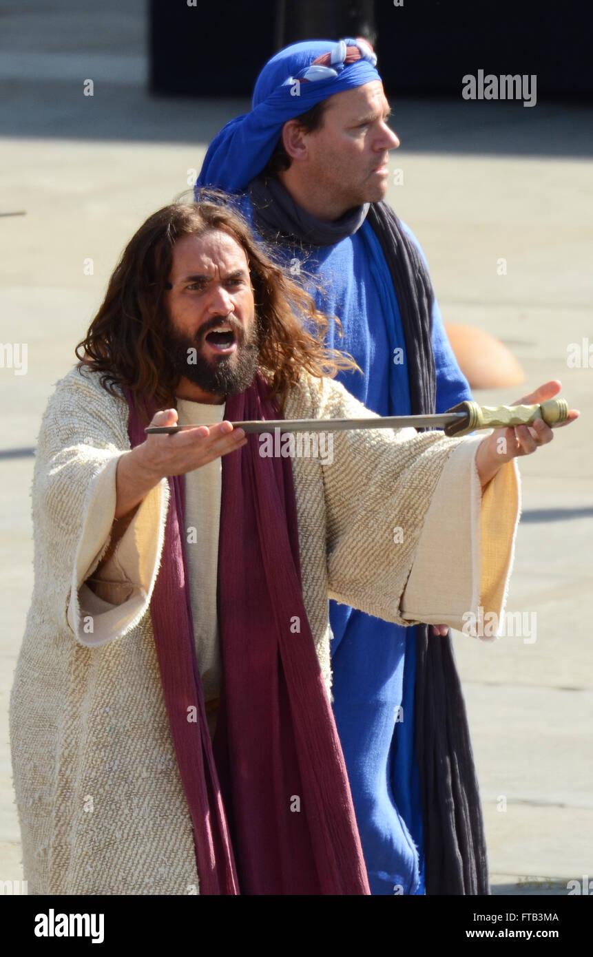 Easter Good Friday the Wintershall cast portrayed the 'Passion' and the resurrection of Jesus Christ in - Stock Image