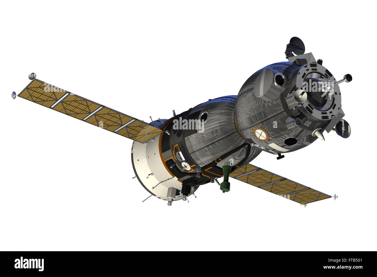 Spacecraft With Open The Solar Panels. 3D Model. - Stock Image