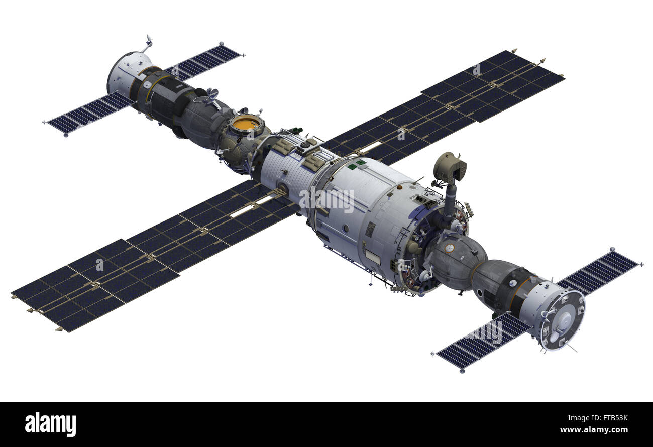 Space Station And Spacecrafts. 3D Model Over White Background. Stock Photo
