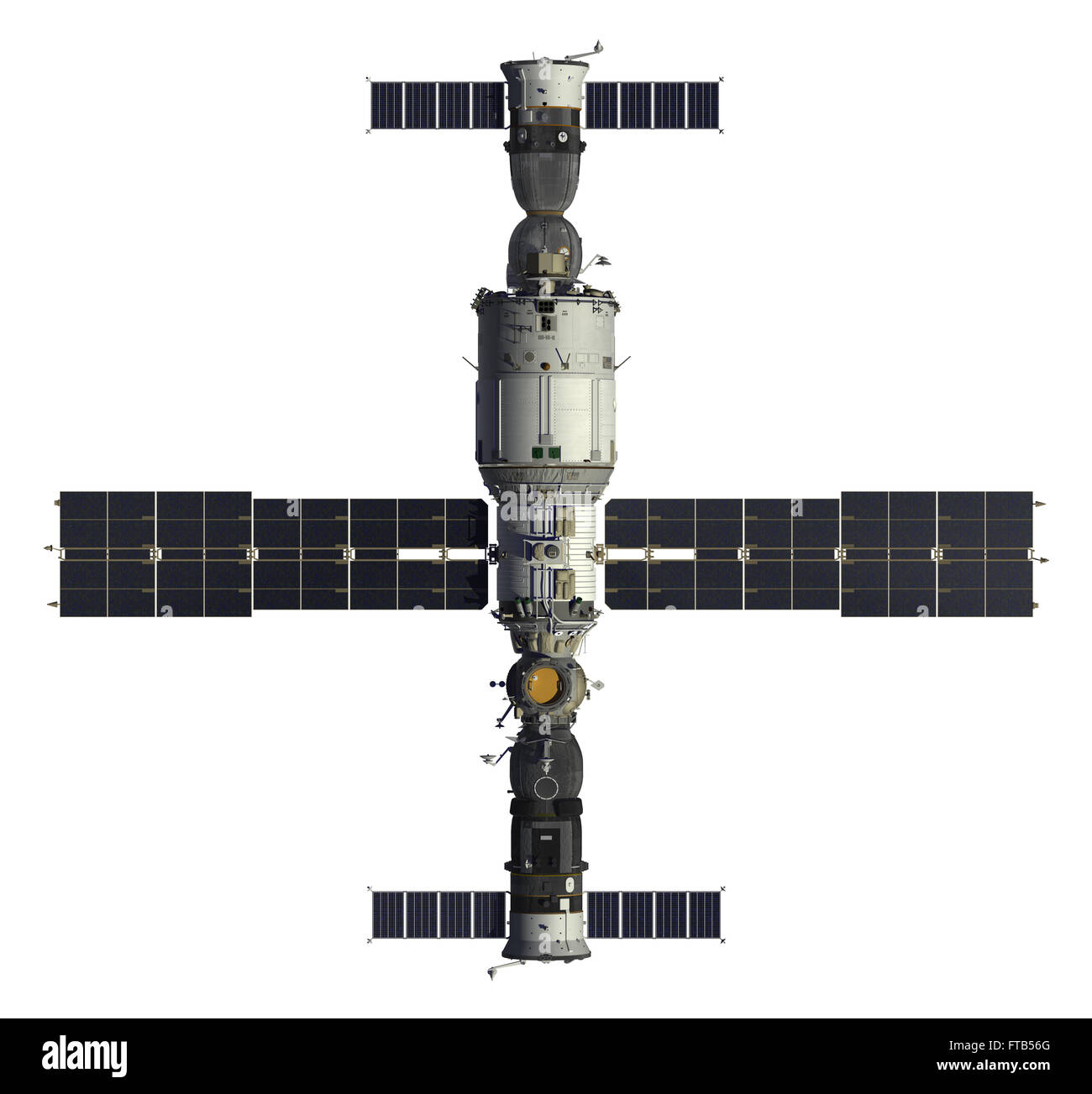 Spacecrafts And Space Station. 3D Model Over White Background. - Stock Image