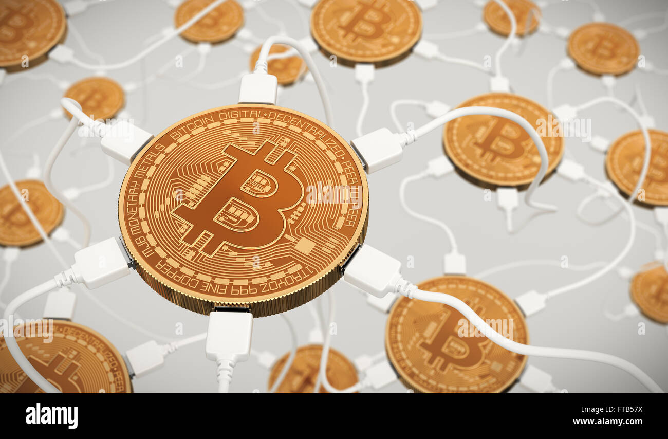 Bitcoins Connected To The Neural Network - Stock Image