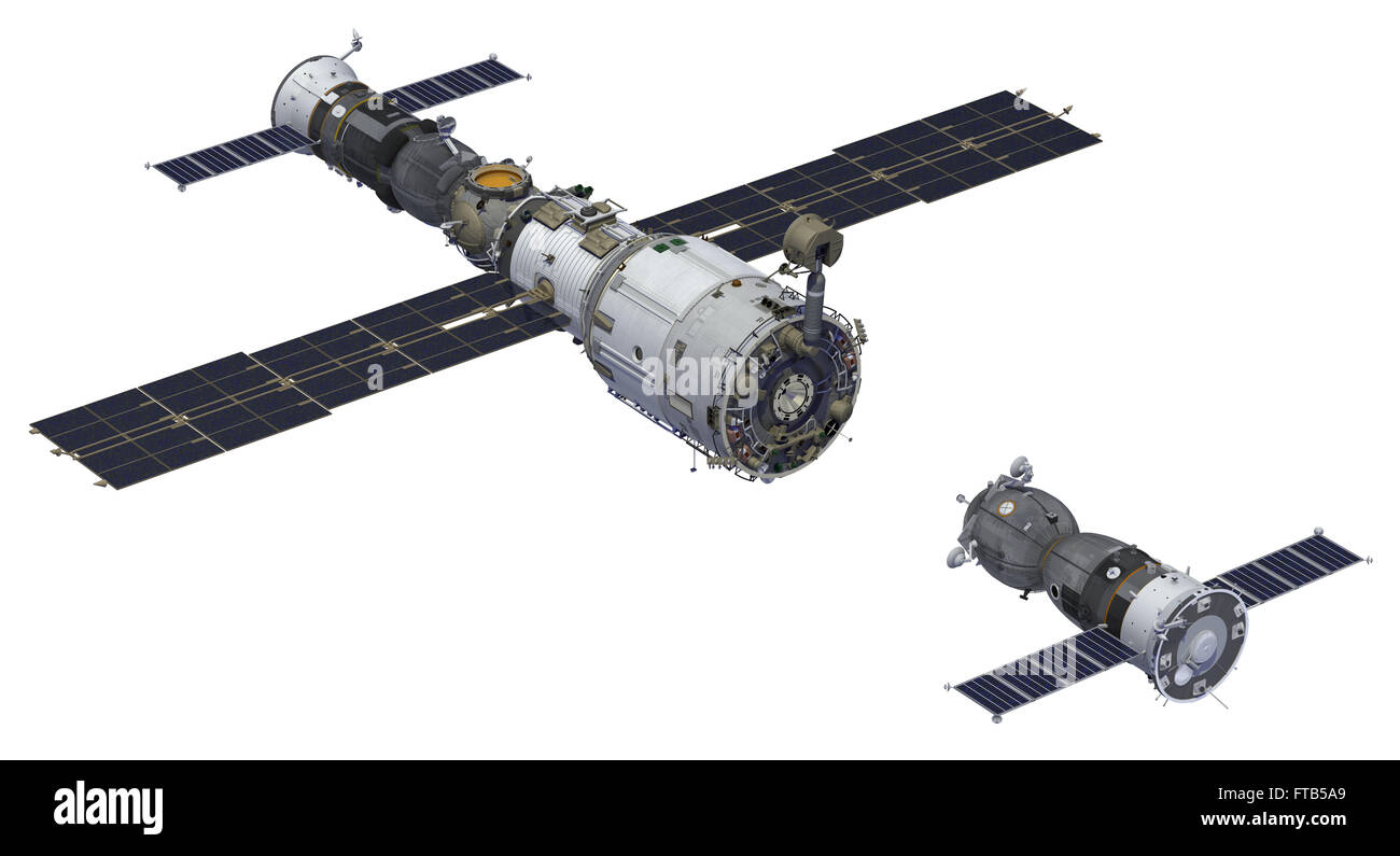 Space Station And Spacecraft - Stock Image