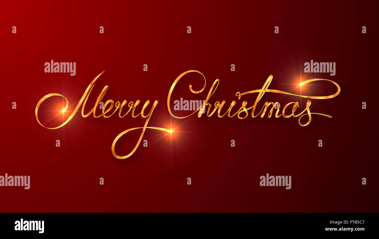 Christmas Red.Gold Text Design Of Merry Christmas On Red Color Background
