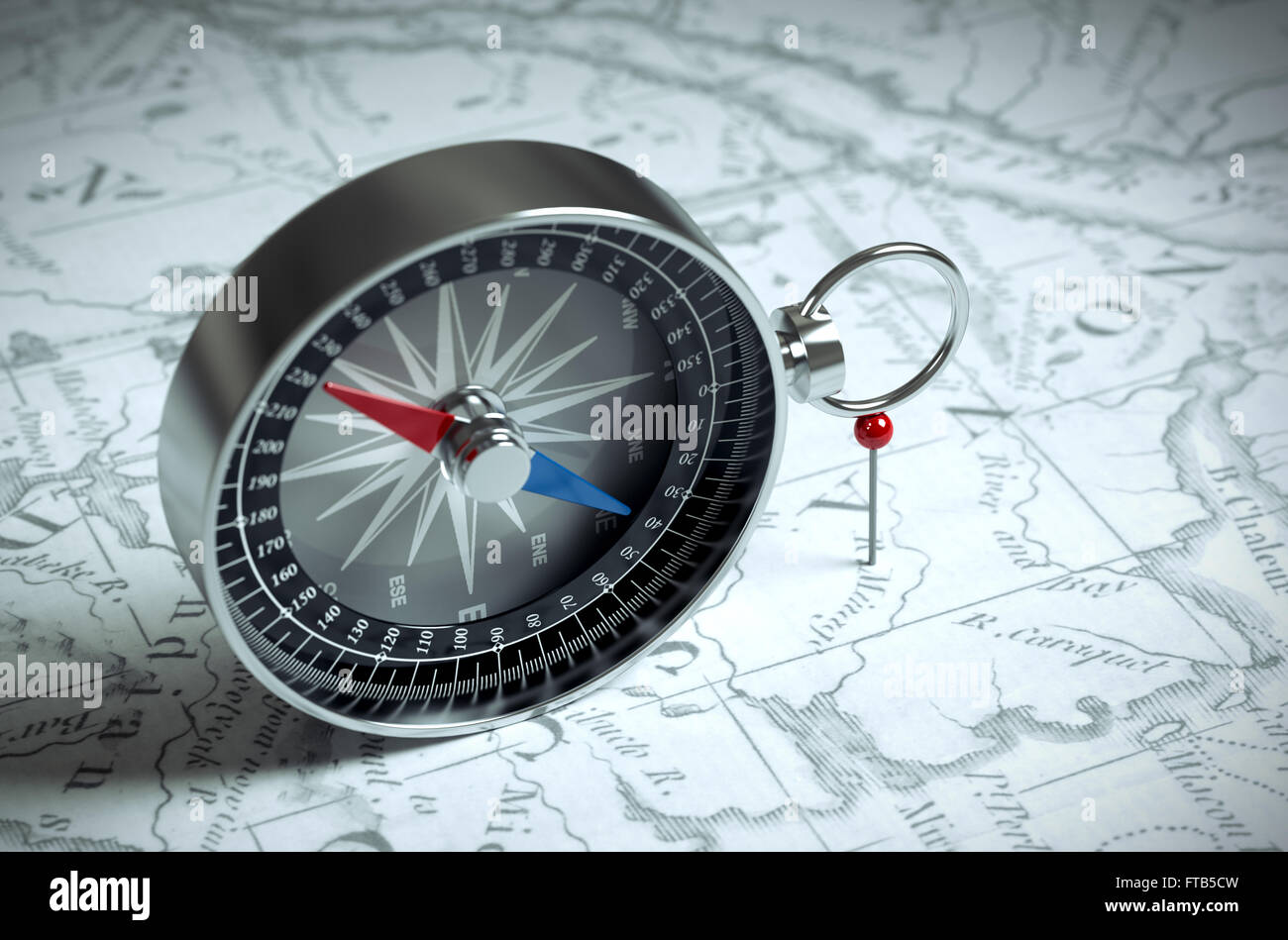 Compass On The Map And Red Pin - Stock Image