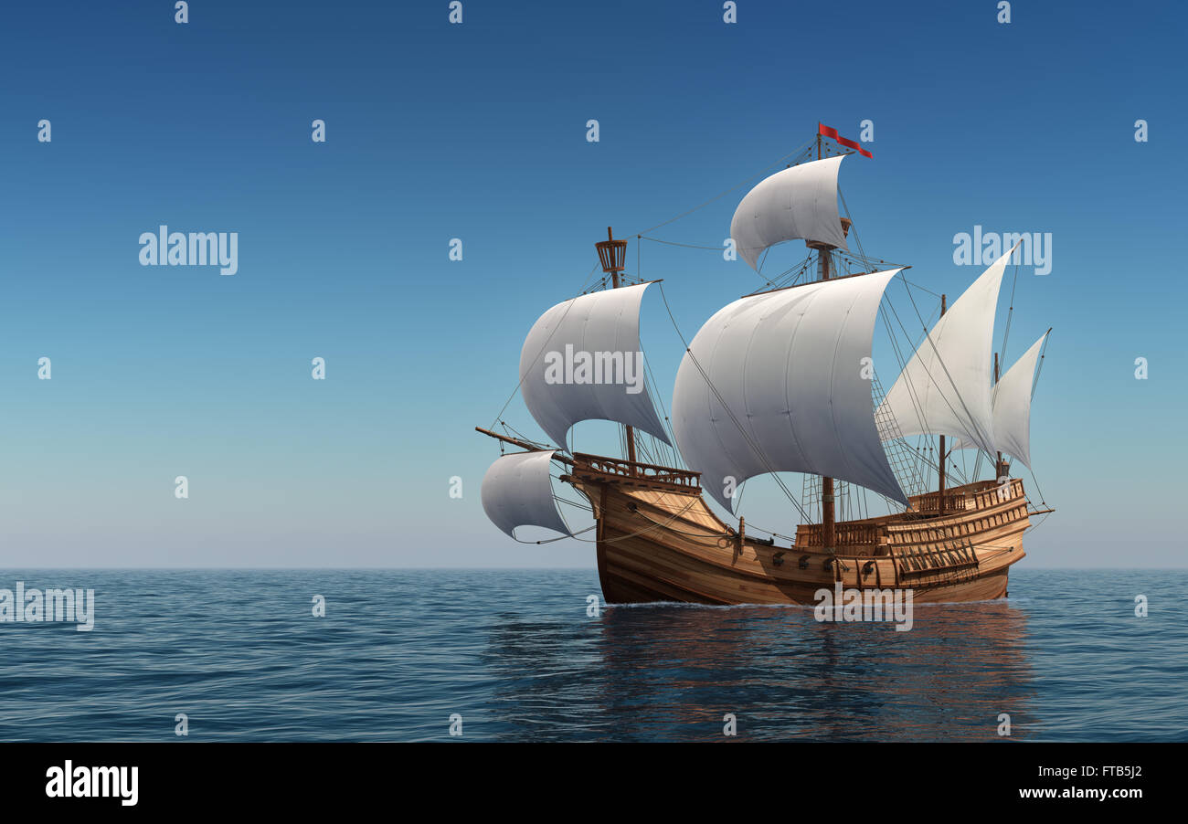 Caravel In The Blue Sea - Stock Image