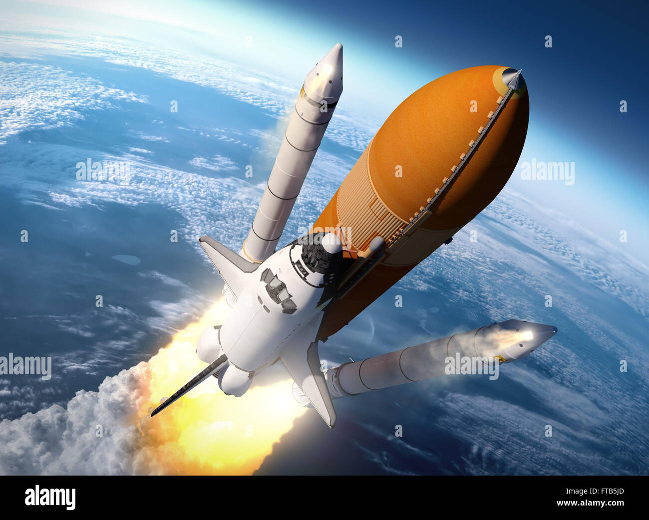 Space Shuttle Solid Rocket Boosters Separation. 3D Scene. - Stock Image