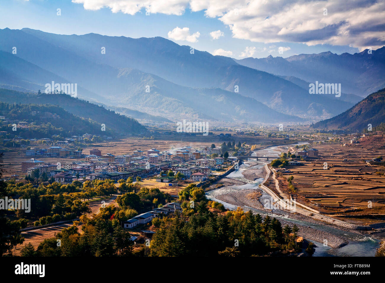 The city of Paro and Paro Valley in western Bhutan. - Stock Image