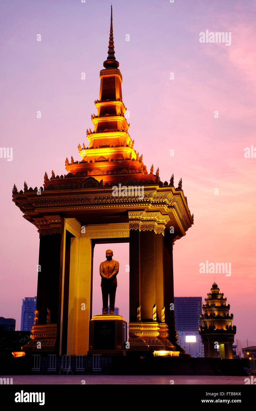 Statue of King Father Norodom Sihanouk, Phnom Penh, Cambodia Stock Photo