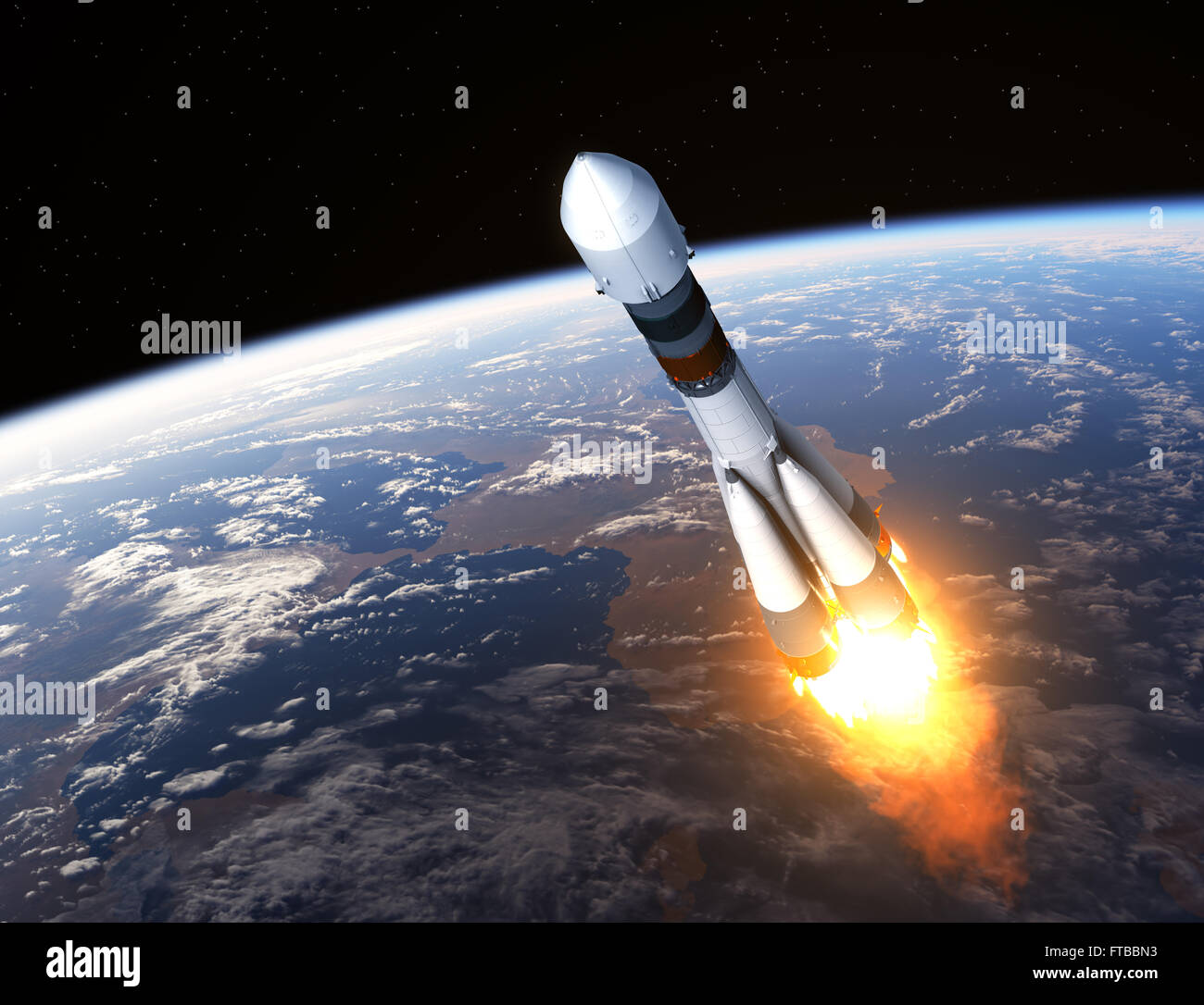 Cargo Carrier Rocket Launch - Stock Image