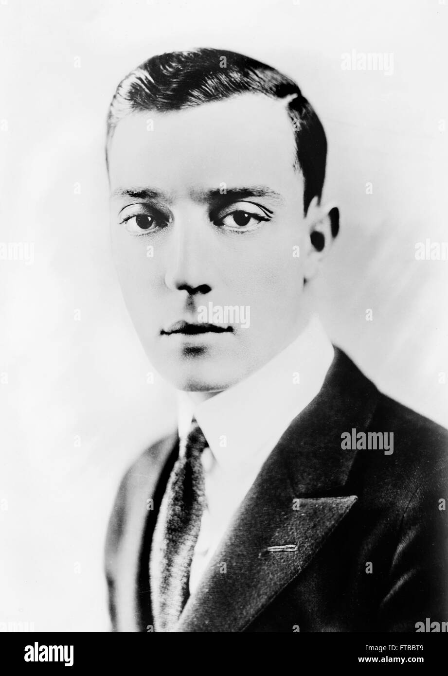Portrait of the silent film star, Buster Keaton. - Stock Image
