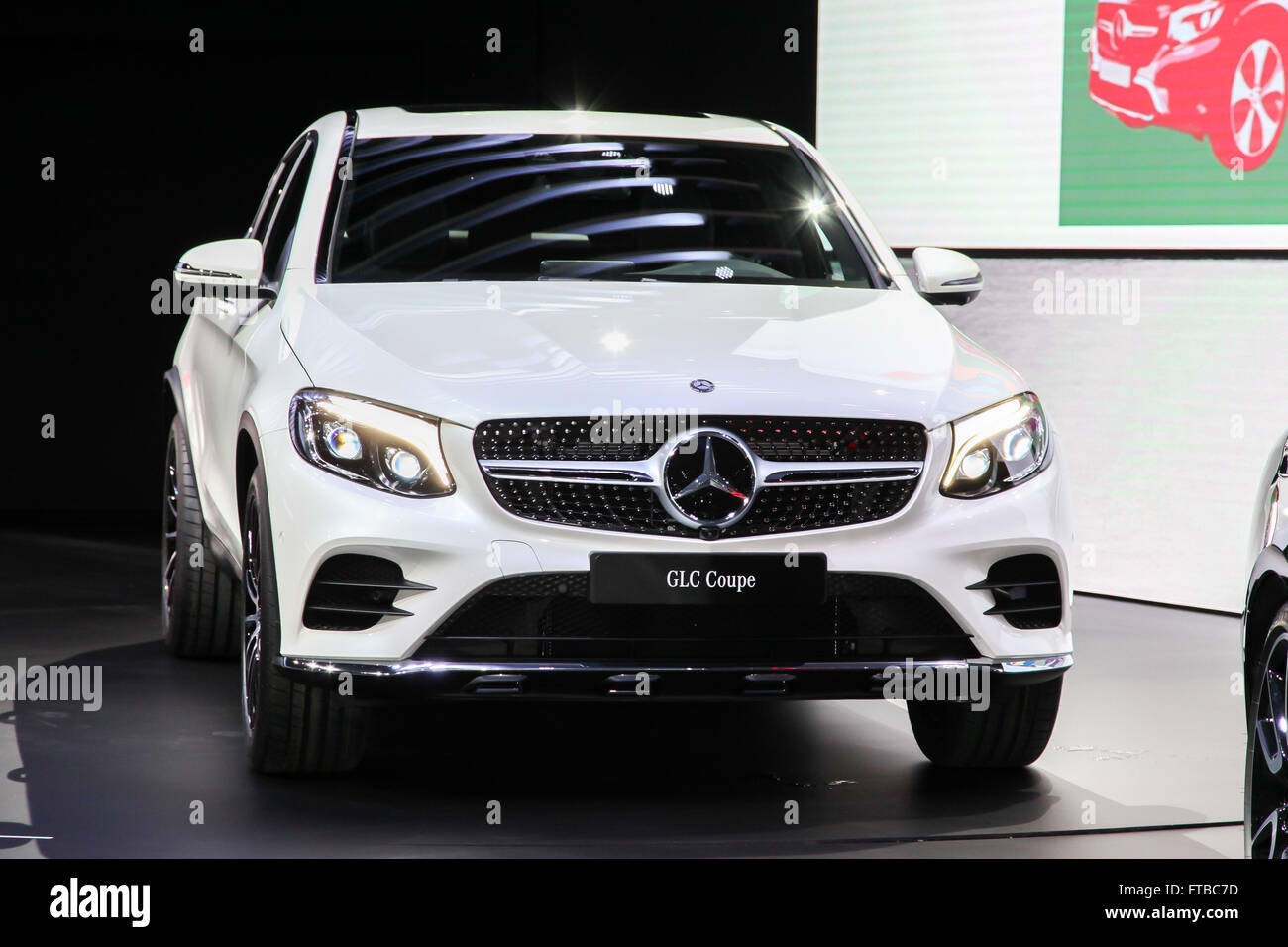 A Mercedes GLC Coupe shown  at the New York International Auto  Show - Stock Image