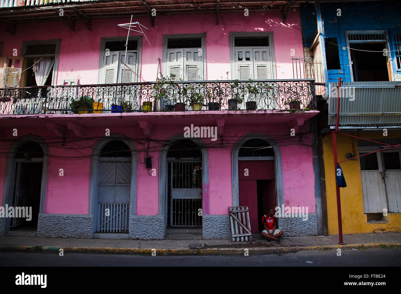 House in Casco Viejo, Panamá city. Panama - Stock Image