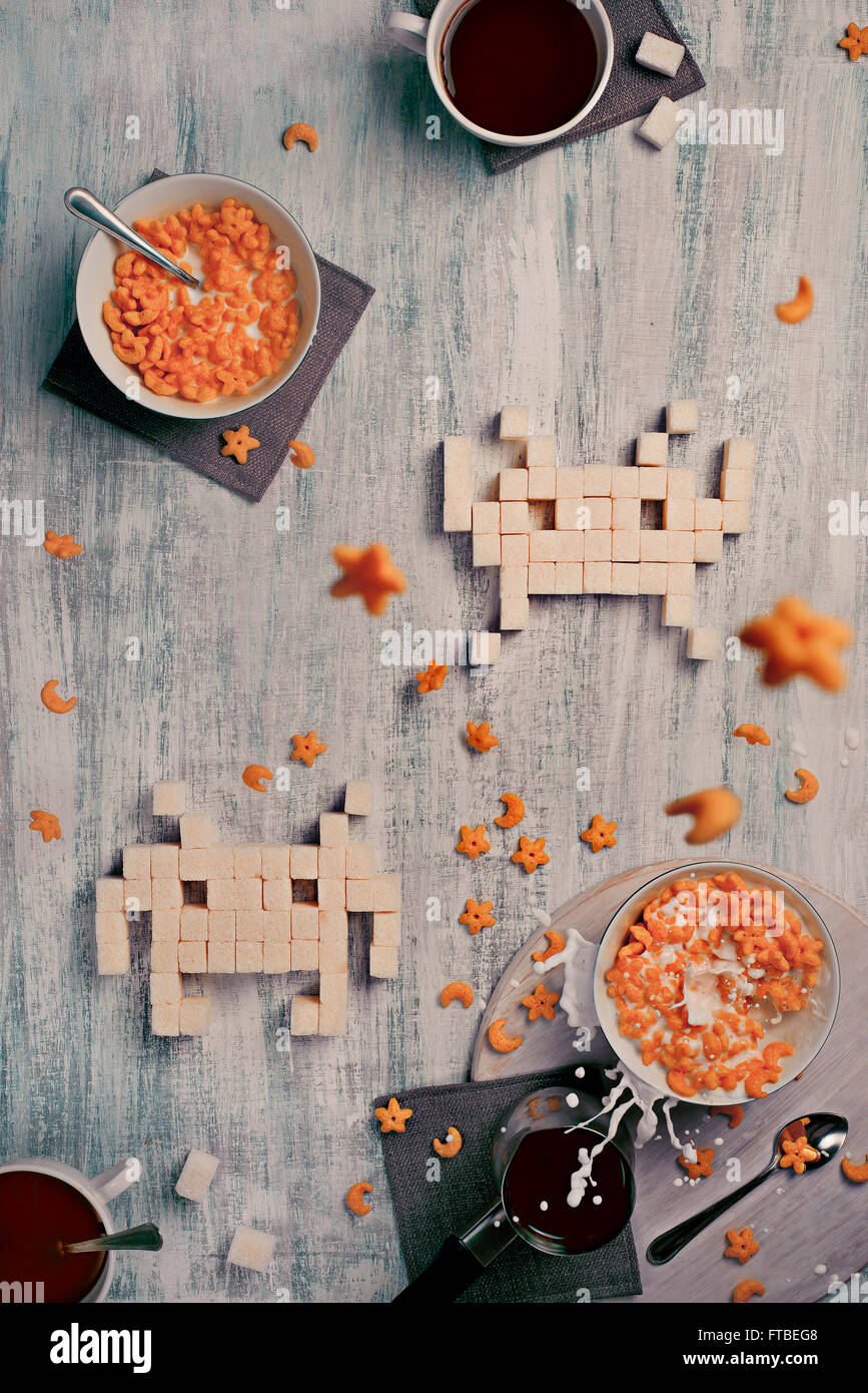 8 bit teatime Series — Space Invaders 2_0 - Stock Image