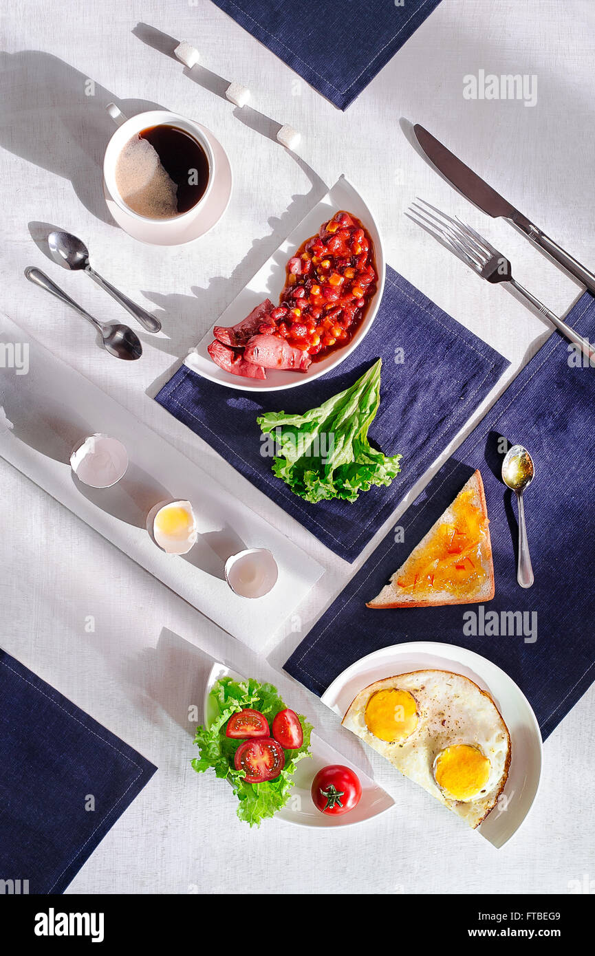 Suprematic meal: English breakfast - Stock Image