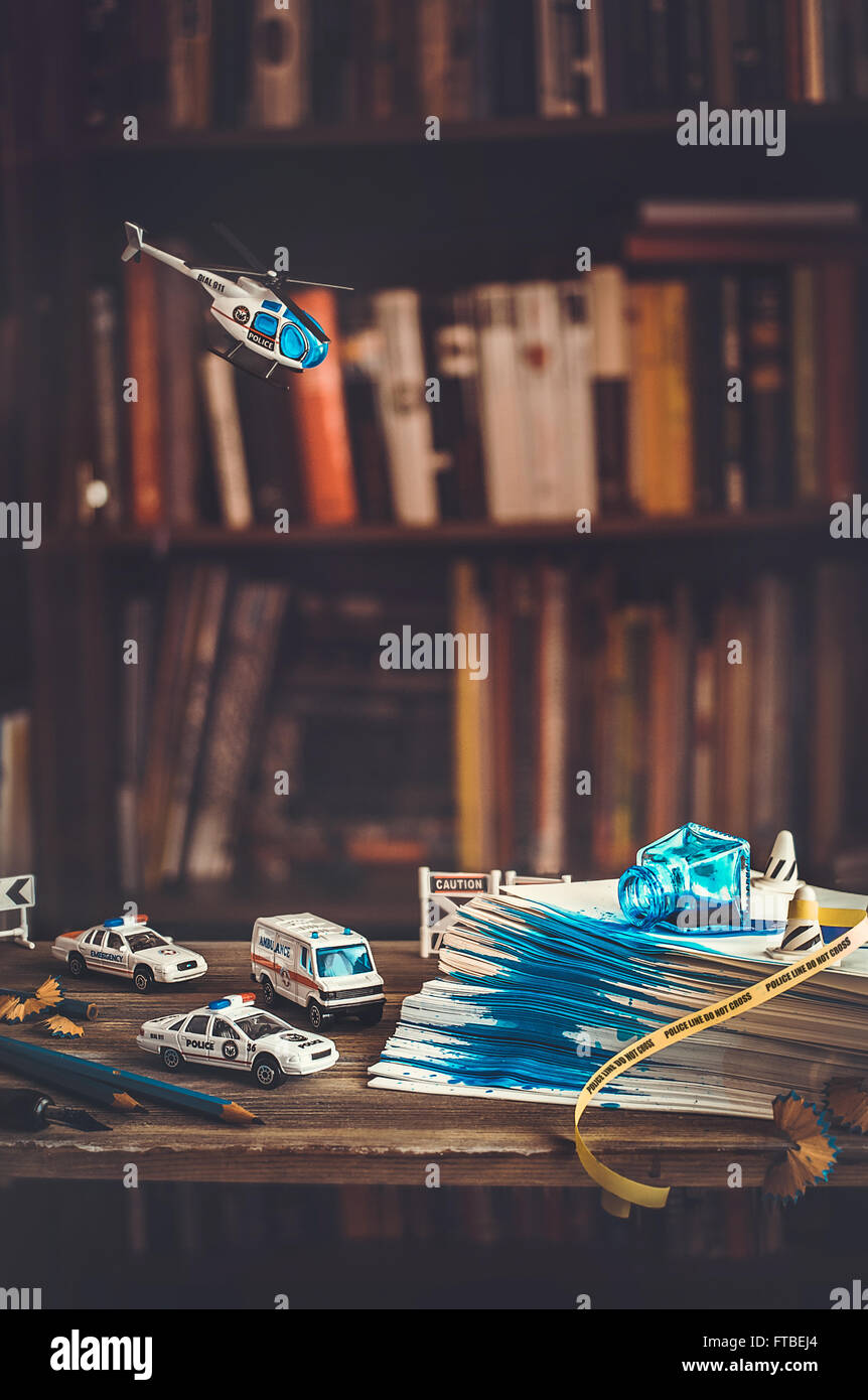 Tiny crimes: spilled ink - Stock Image