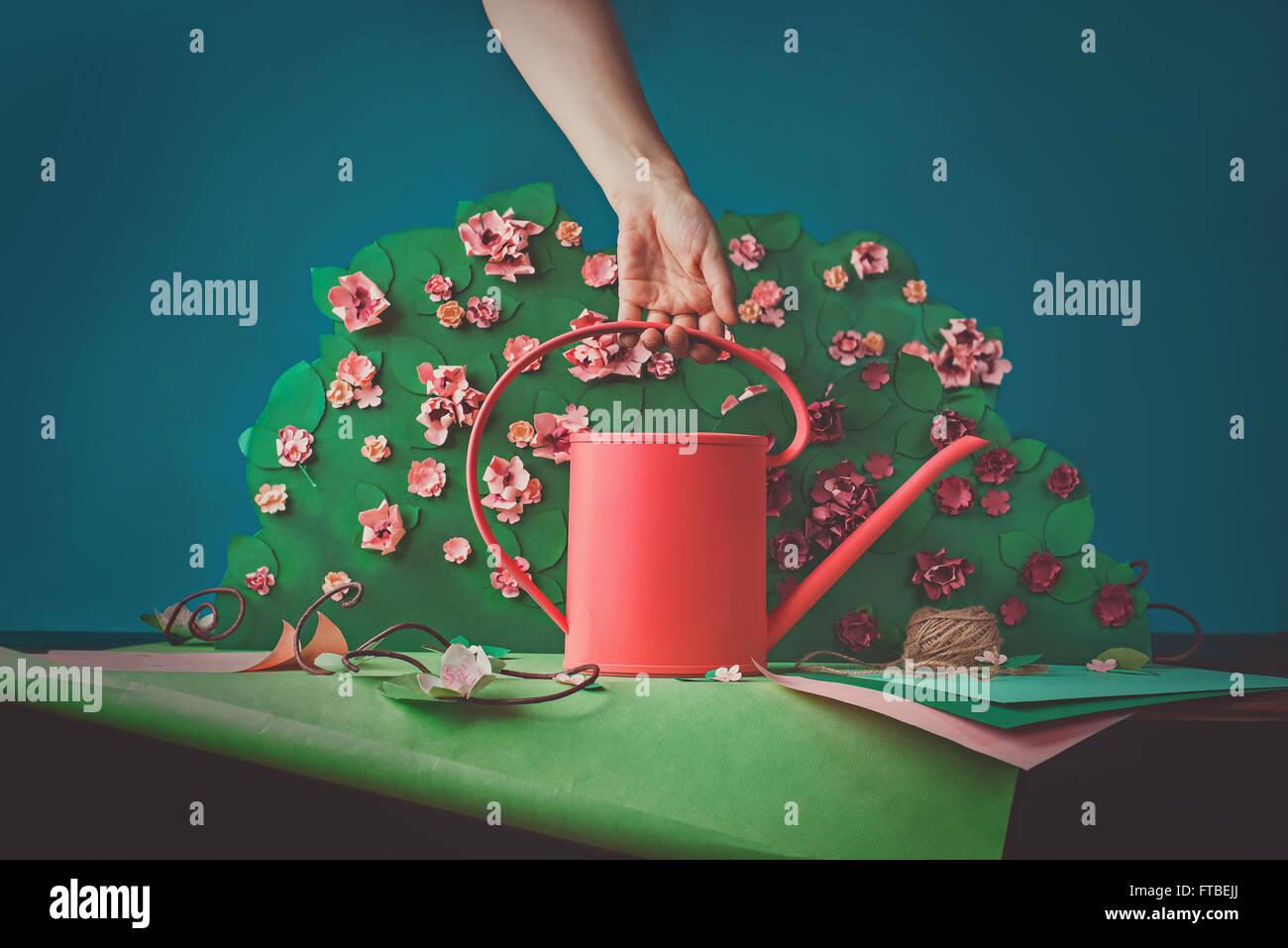Paper garden - Stock Image