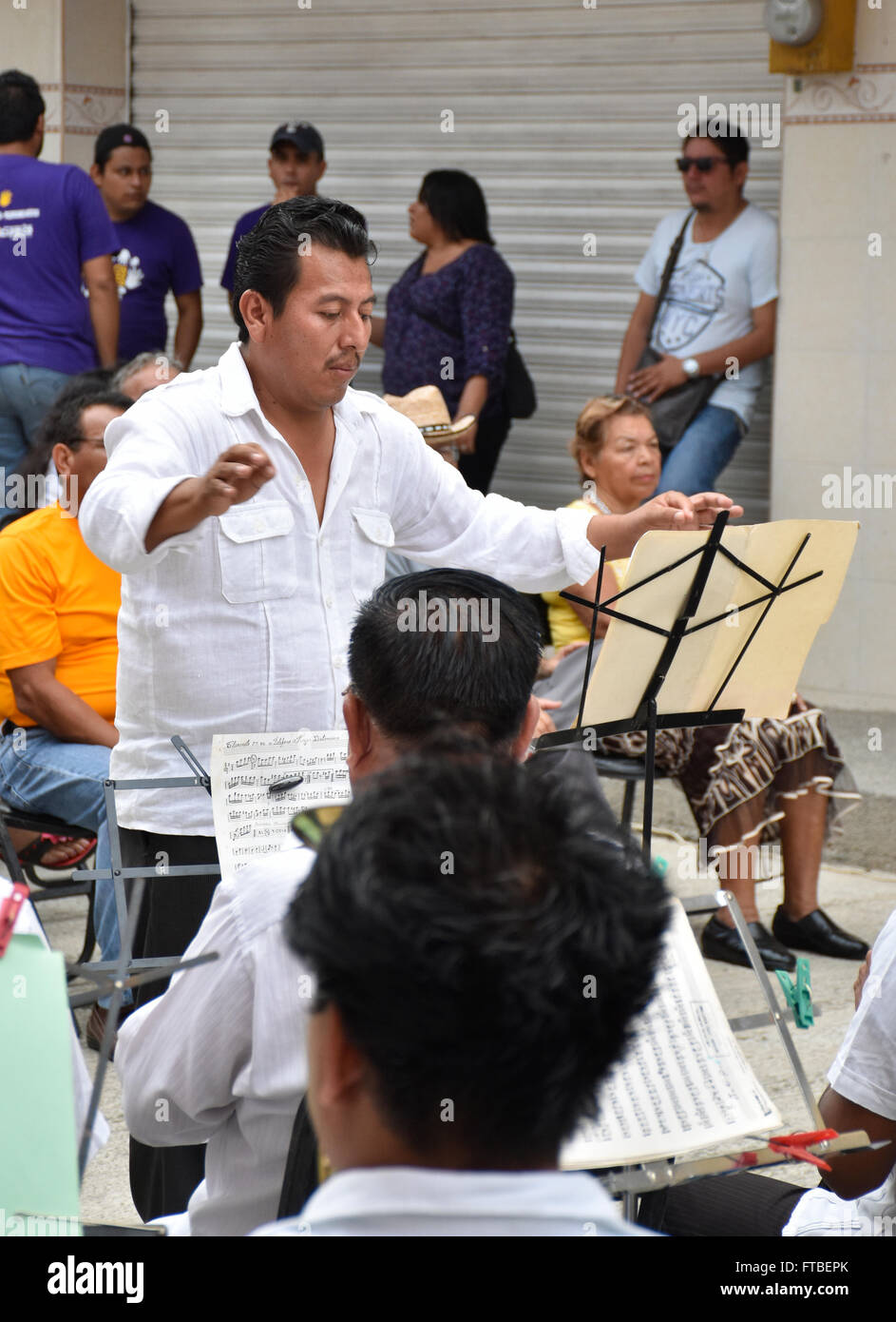Musicians playing at local city cultural event in Acapulco, Mexico Stock Photo