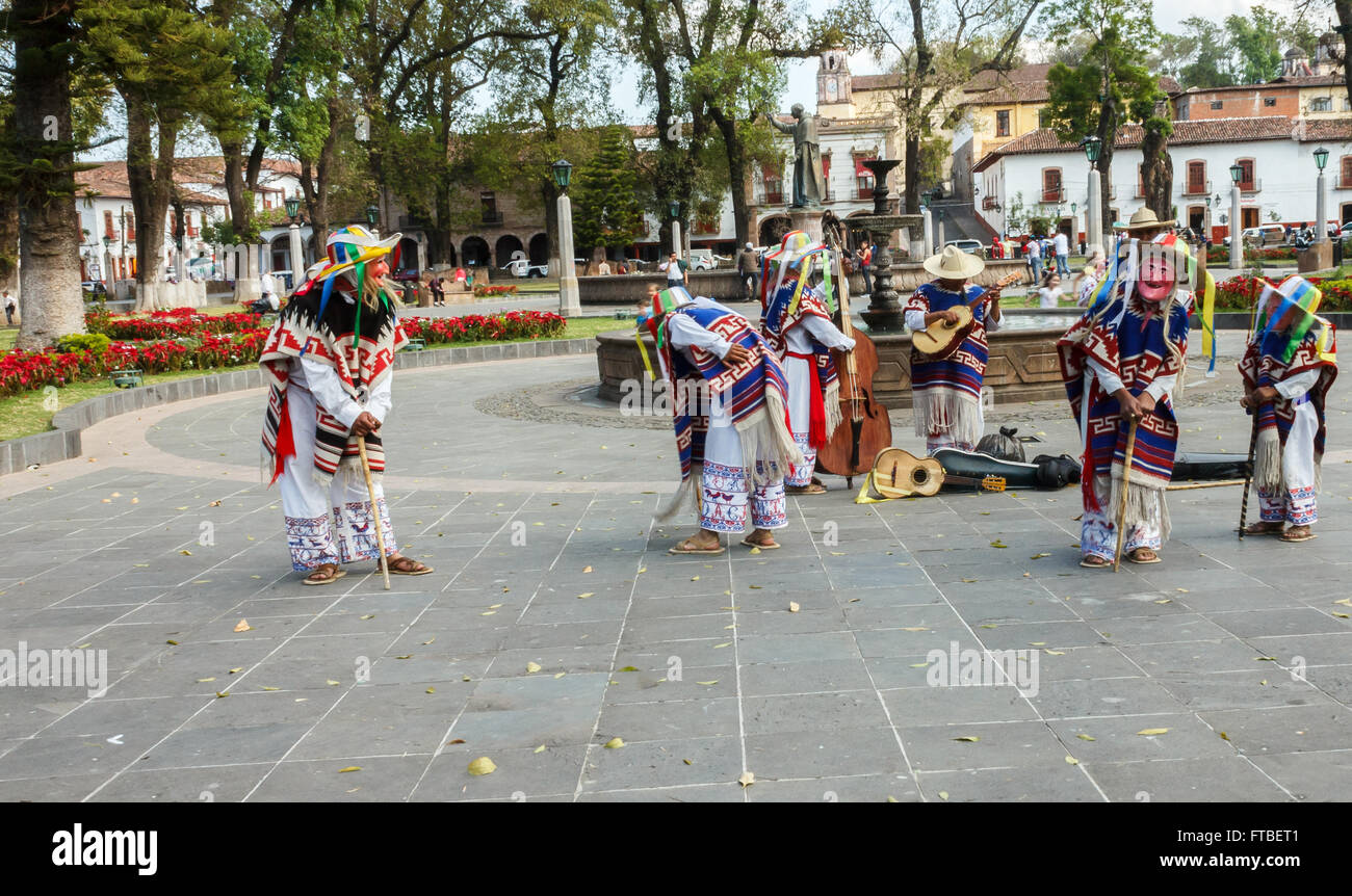 The Dance of the little old men performance in Patzcuaro, Michoacán, Mexico - Stock Image