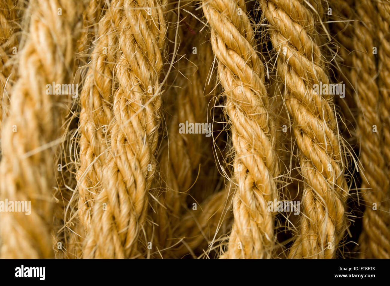 Detail of the rope made of natural fibres of hemp Stock Photo