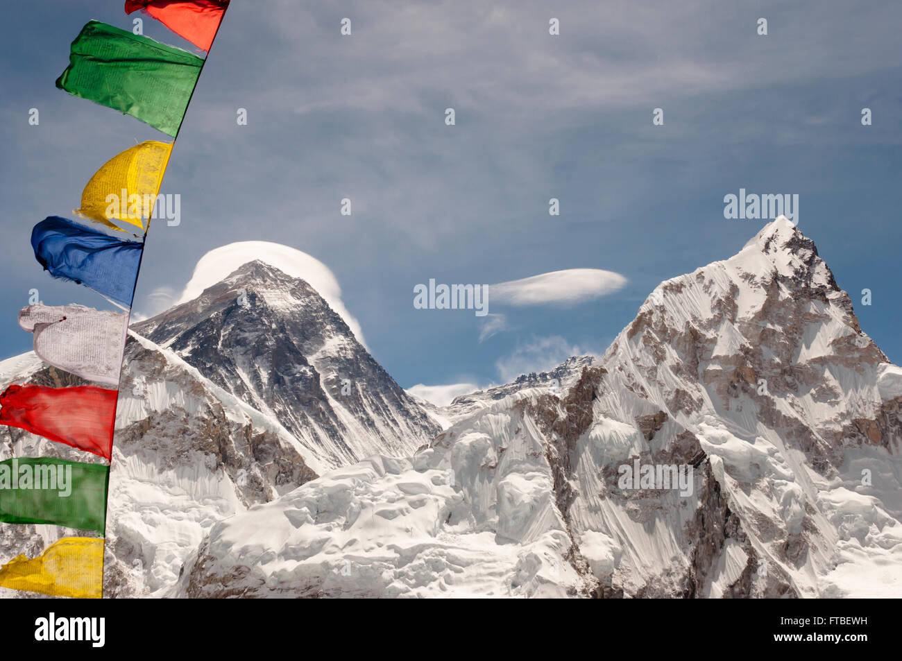 Mount Everest with Prayer Flags - Nepal - Stock Image