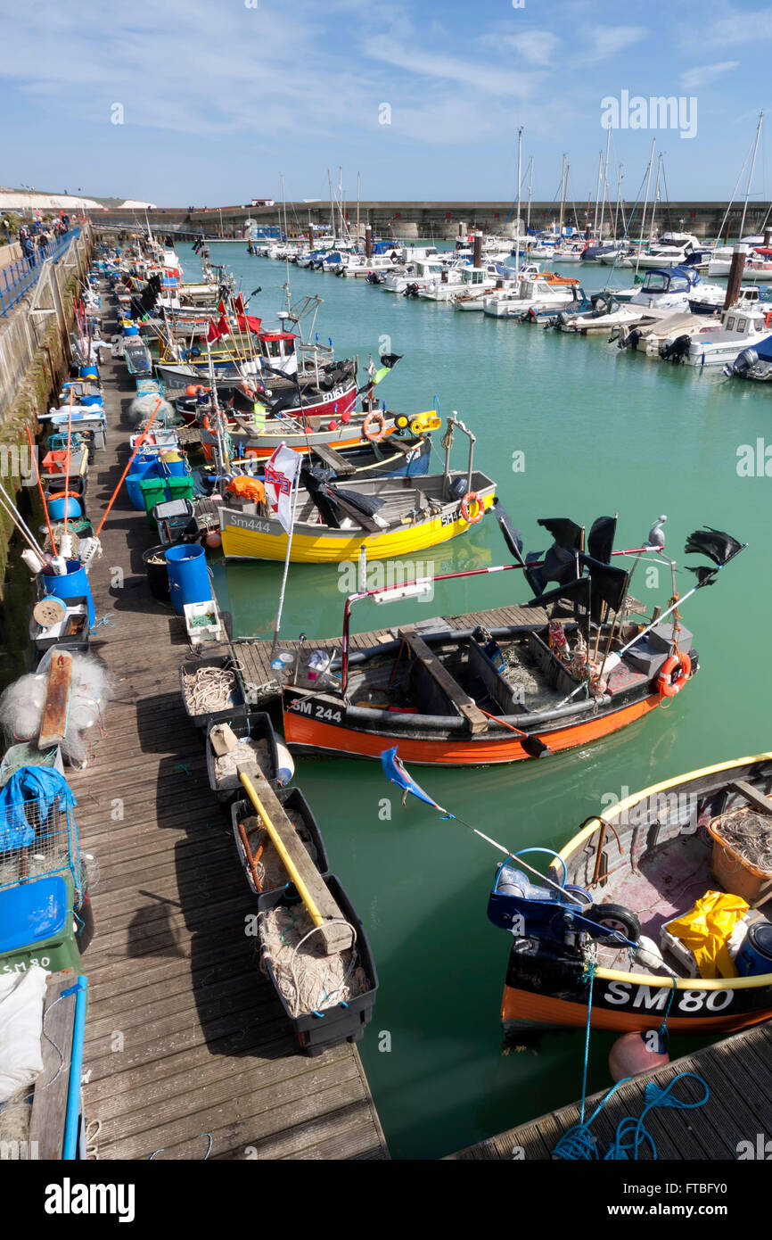 Fishing boats moored at the Brighton Marina in East Sussex - Stock Image