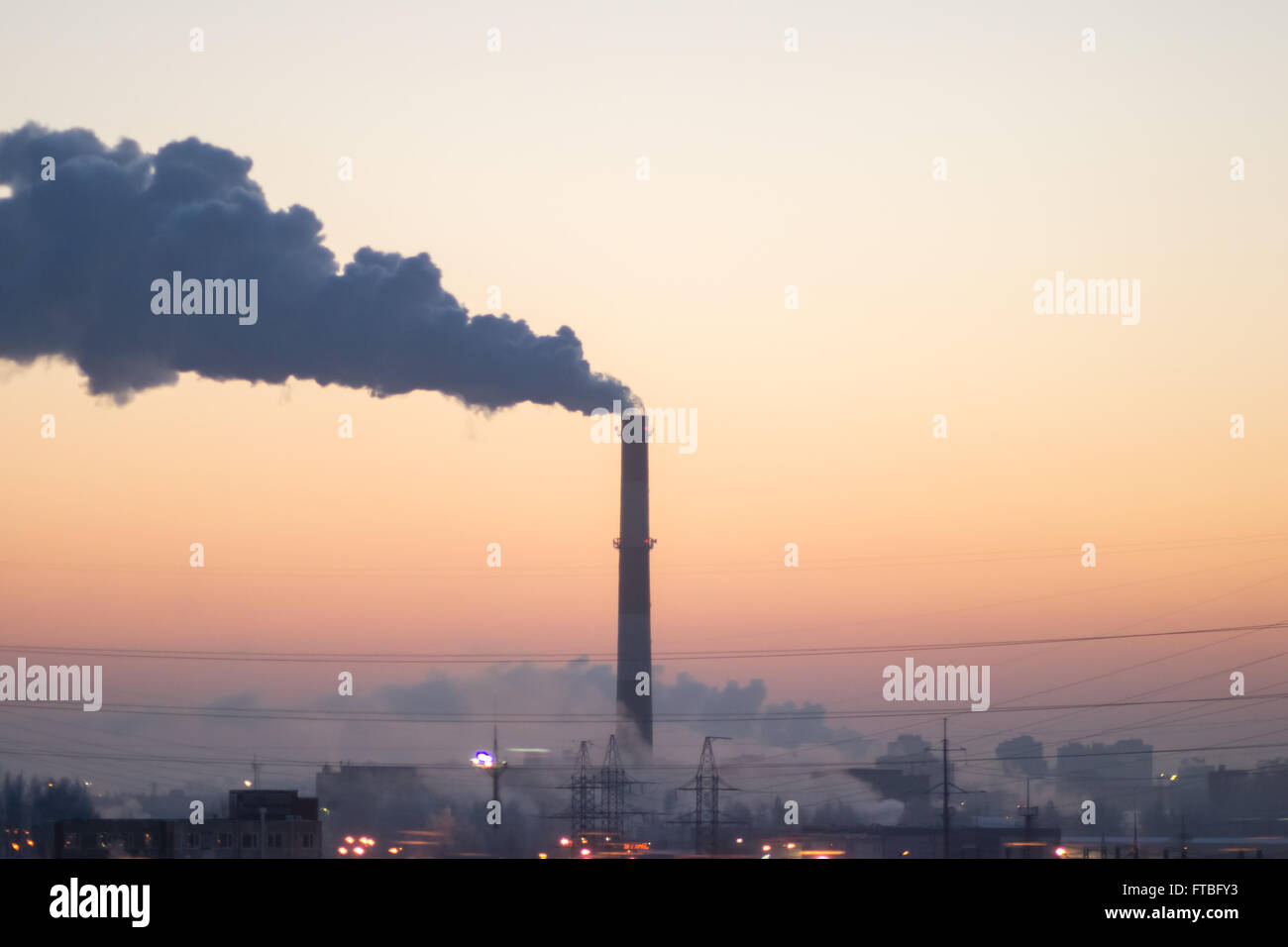 chimney pollution tree air industrial white industry - Stock Image