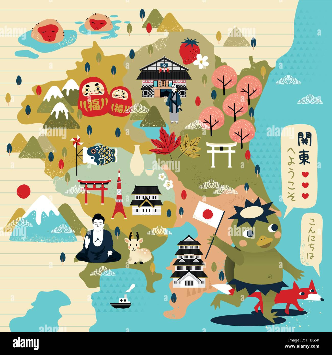 lovely japan travel map with kappa welcome to east japan and hello