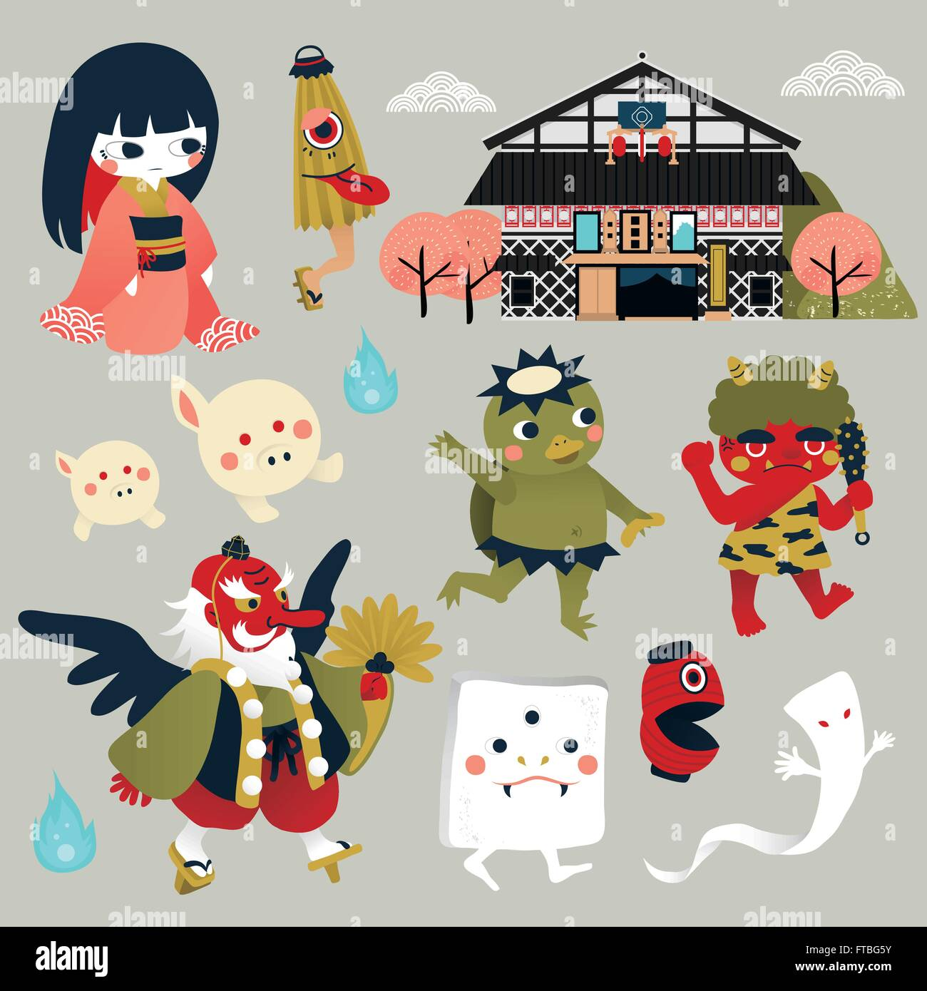 lovely japan monster collection set in flat style stock vector art