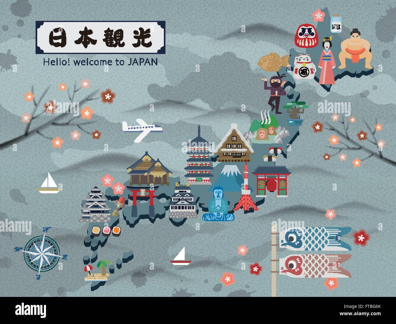 Japan travel map with famous attractions Japan Travel in Japanese