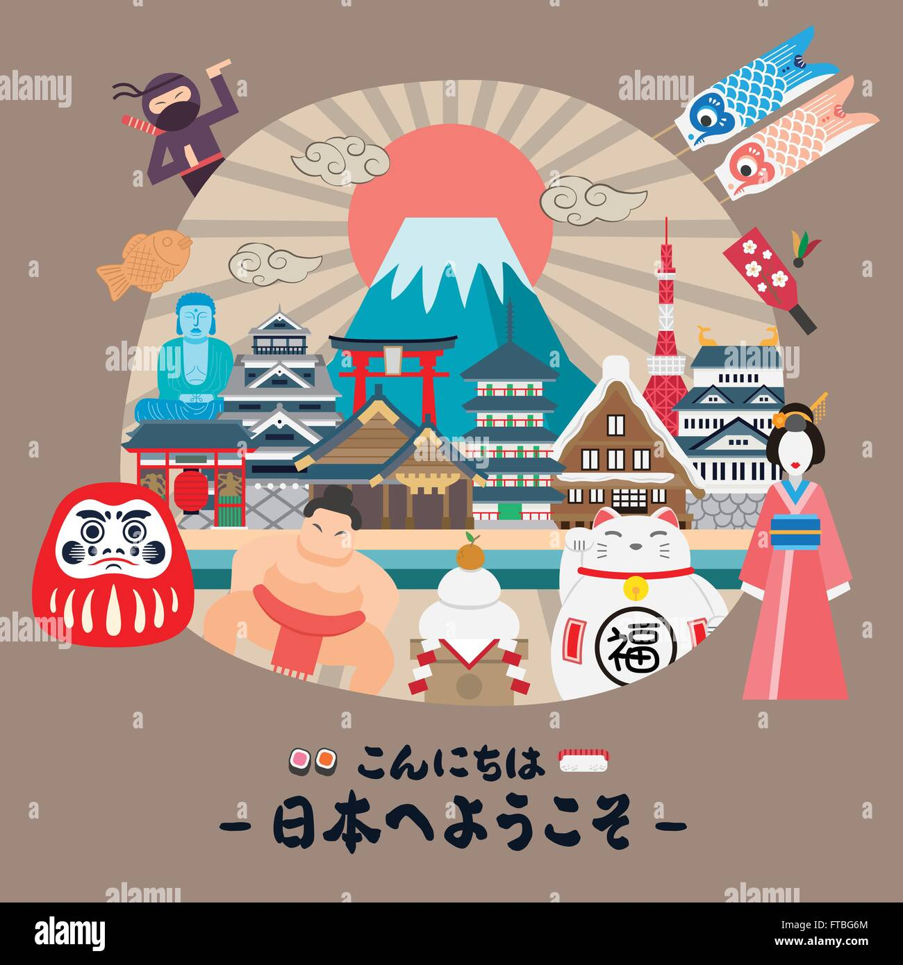 Japanese Culture Map Poster Vector Stock Photos Japanese Culture