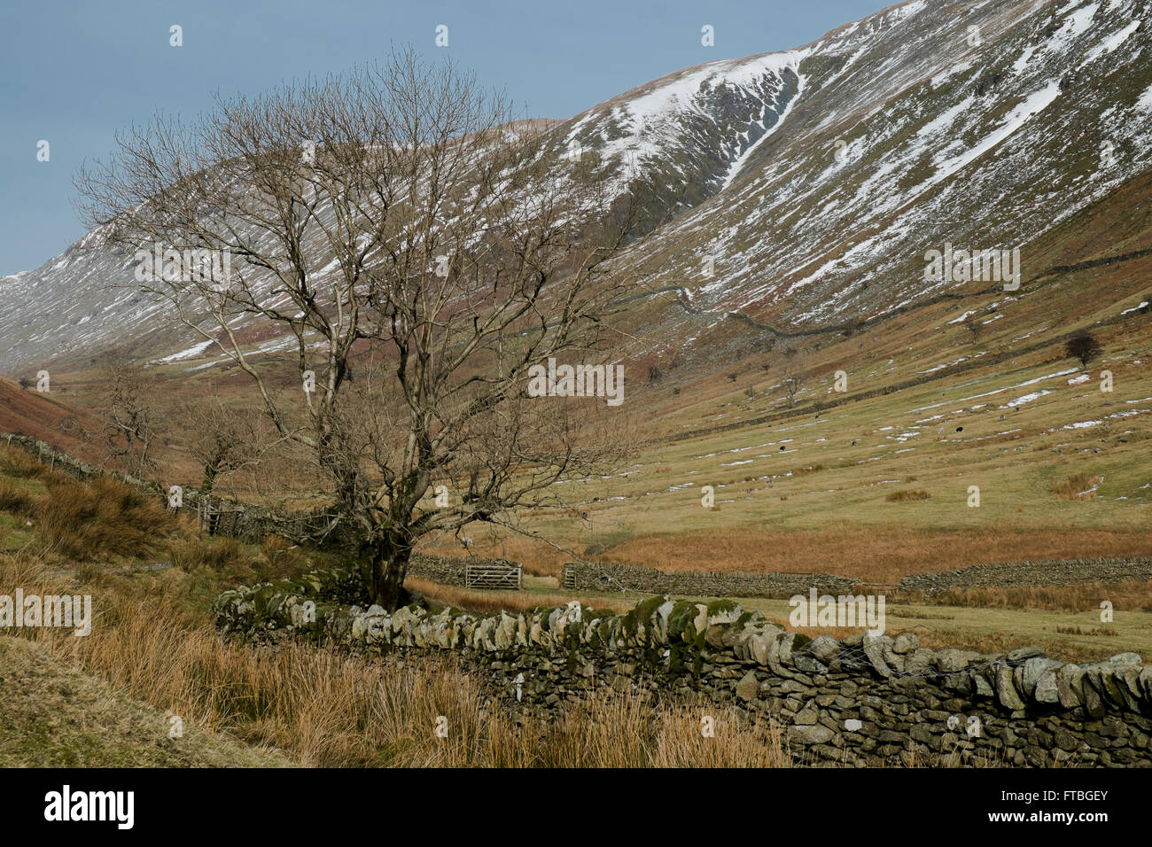 A winter view along Troutbeck valley in the Lake District, Cumbria, England - Stock Image