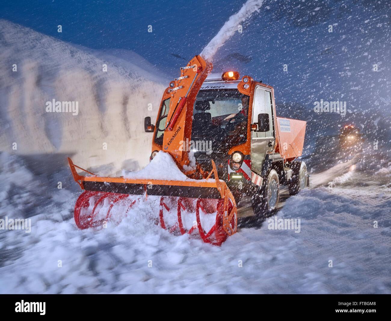 Snowplow removing snow, winter maintenance, Hochgurgl, Ötztal, Tyrol, Austria - Stock Image