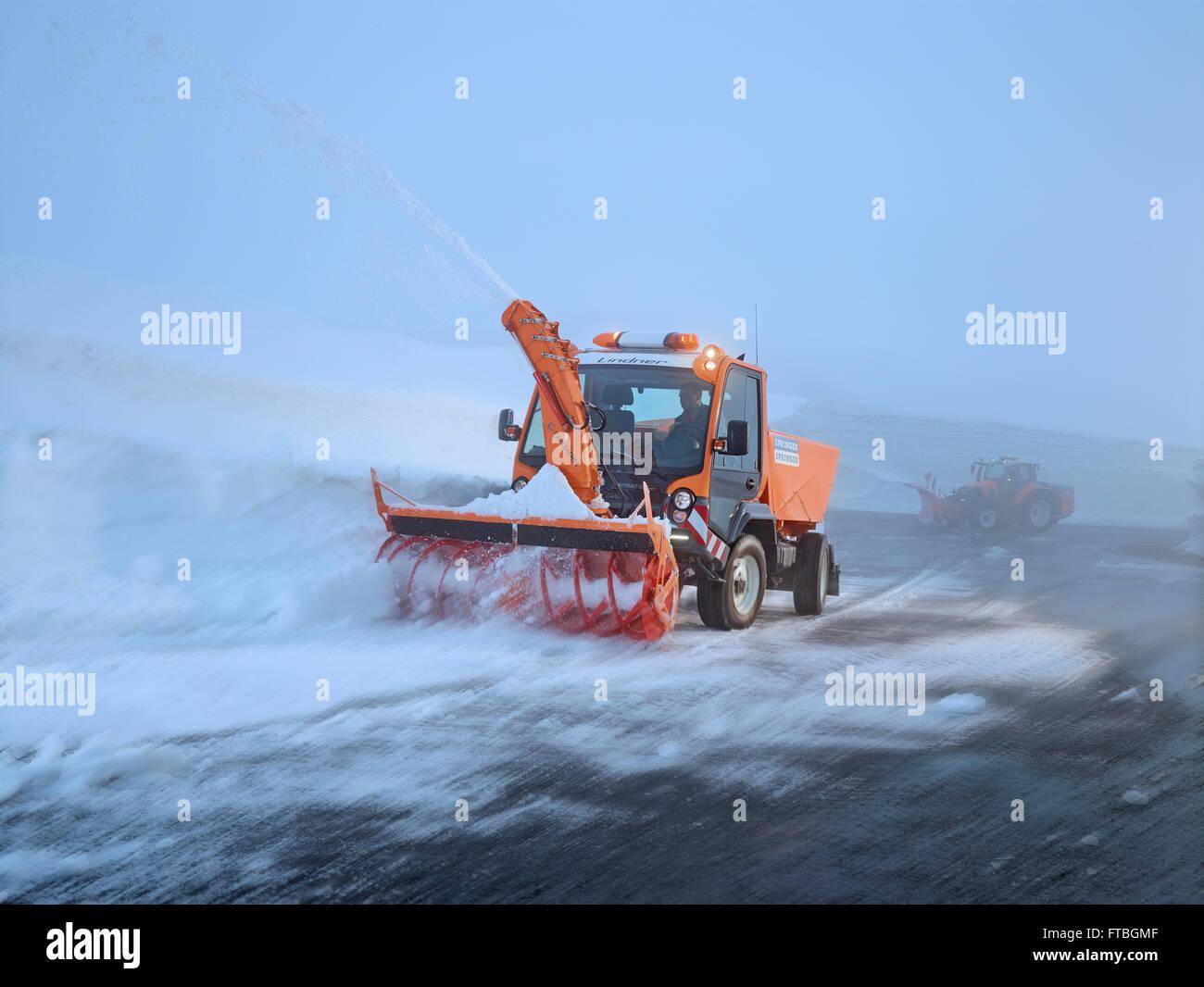 Snowplow with snowblower for winter maintenance, Hochgurgl, Ötztal, Tyrol, Austria - Stock Image