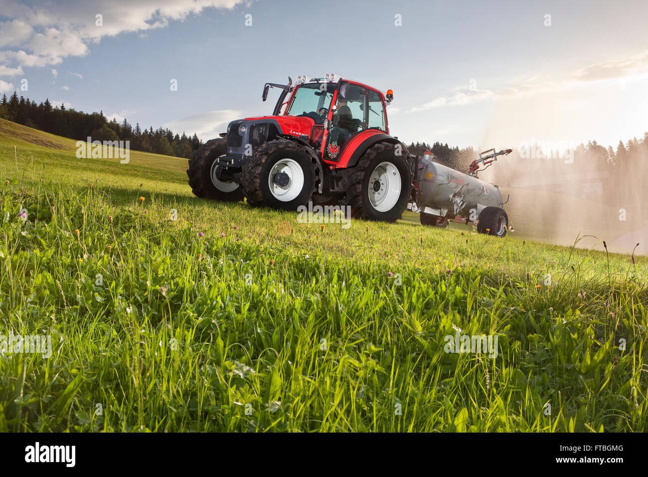 Manure spreader fertilizing a field, Breitenbach am Inn, Inn Valley, Tyrol, Austria - Stock Image