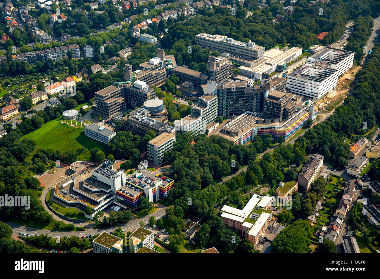 Aerial view, University of Wuppertal, BUW, Polytechnic