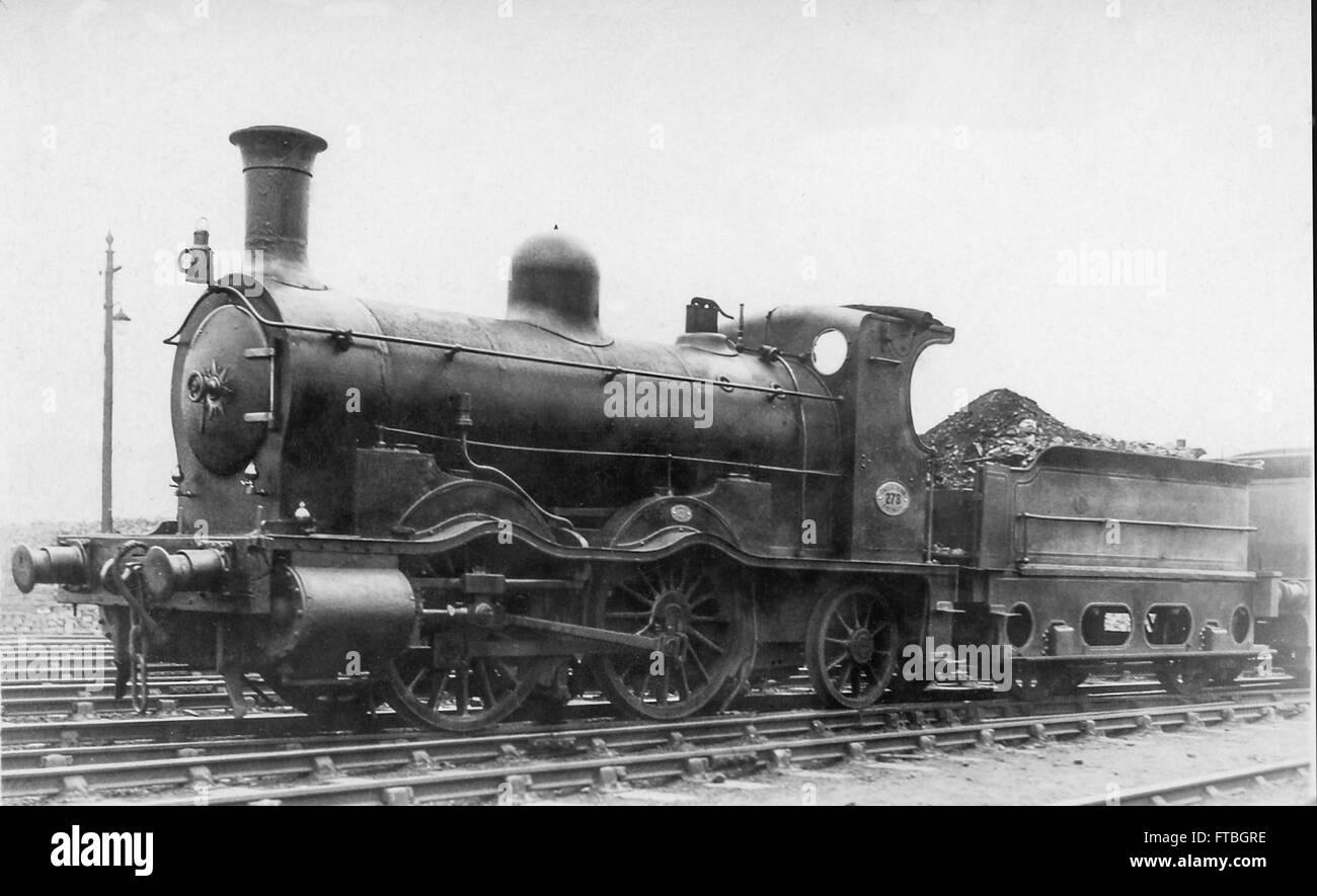 Caledonian Railway 670 Class 0-4-2 steam locomotive No.278 in Caledonian passenger livery - Stock Image