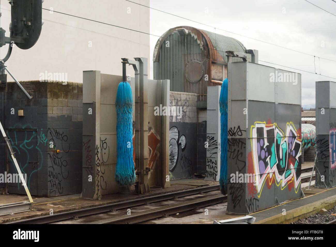 Train wash in siding outside Malahide, Dublin, Ireland - Stock Image