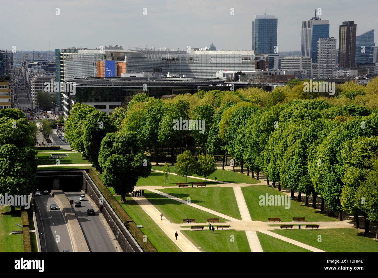 Park of the Fiftieth Anniversary and European Quarter,Brussels,Belgium - Stock Image