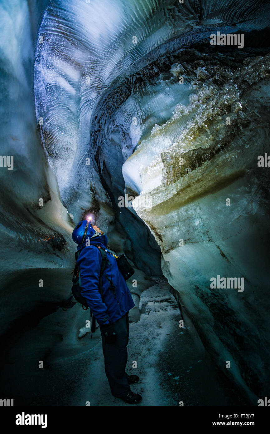 Longyearbreen ice cave, Spitsbergen, Svalbard Stock Photo