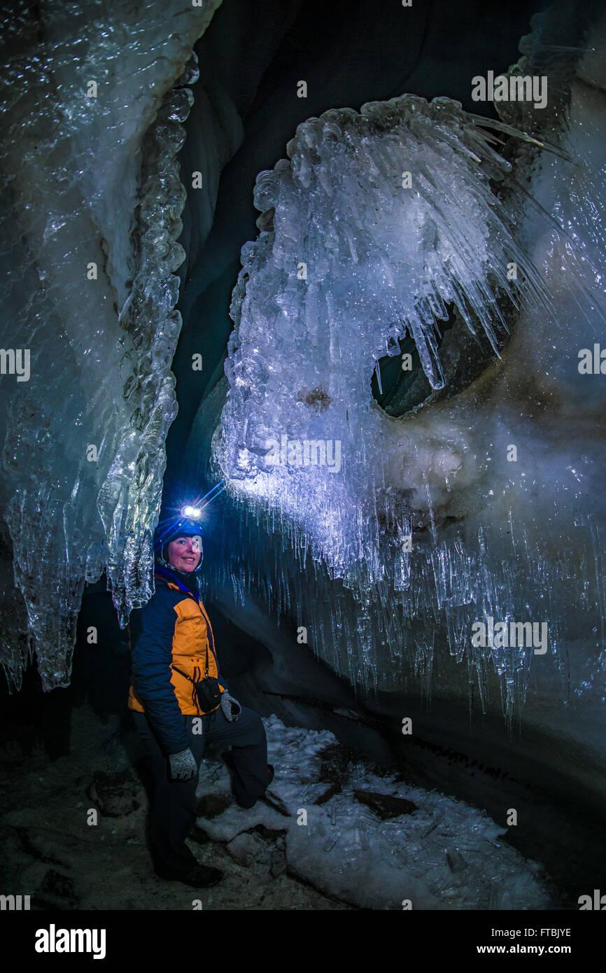 Longyearbreen ice cave, Spitsbergen, Svalbard - Stock Image