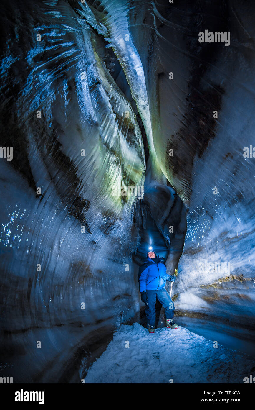 Larsbreen ice cave, Spitsbergen, Svalbard - Stock Image