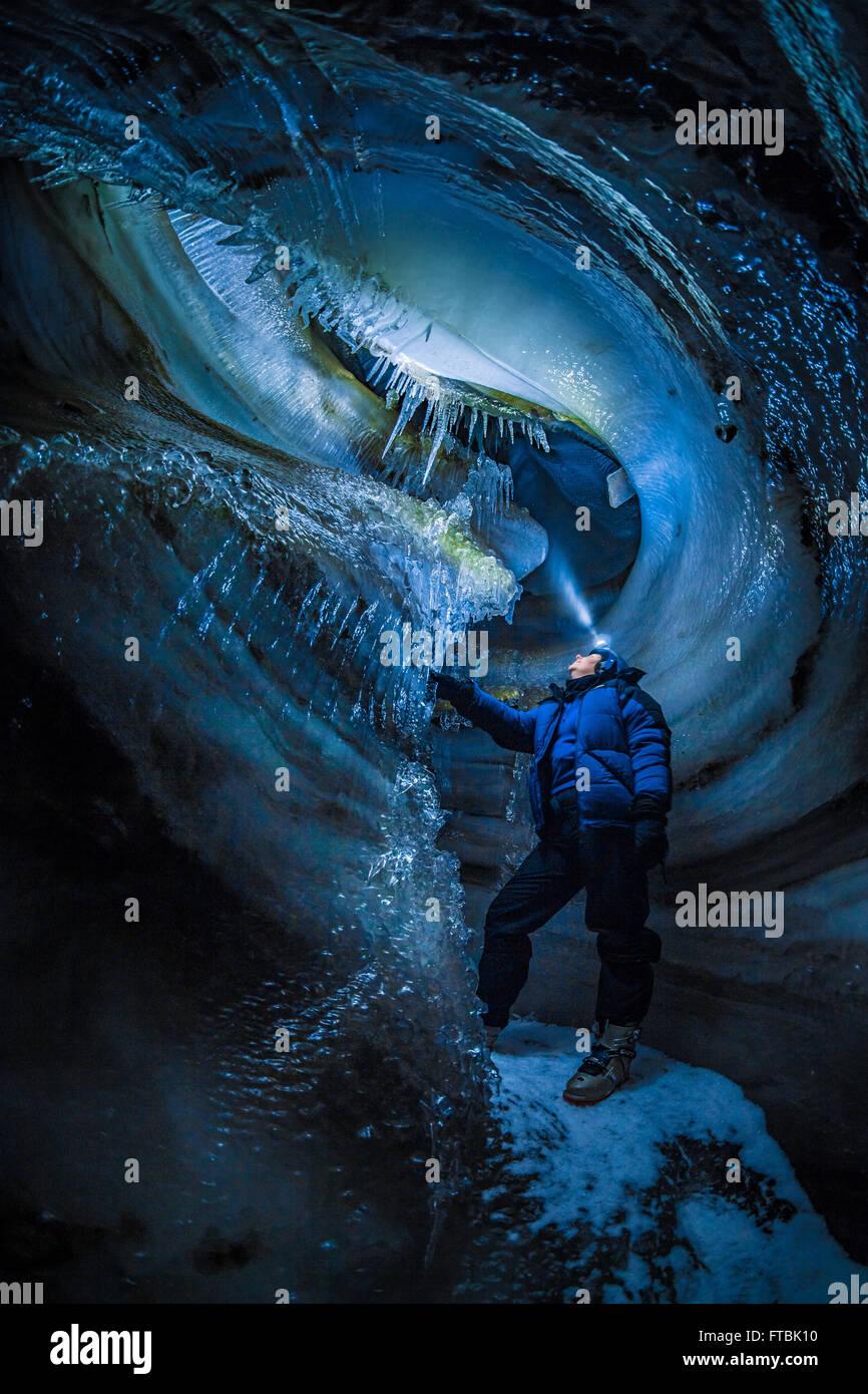 Larsbreen ice cave, Spitsbergen, Svalbard - Stock Image