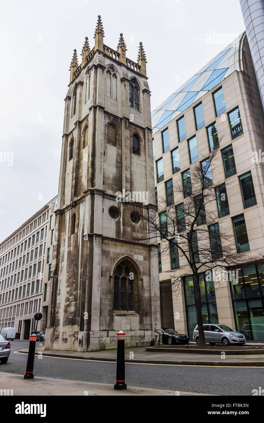 The Tower of St Alban's church in the city of London. - Stock Image