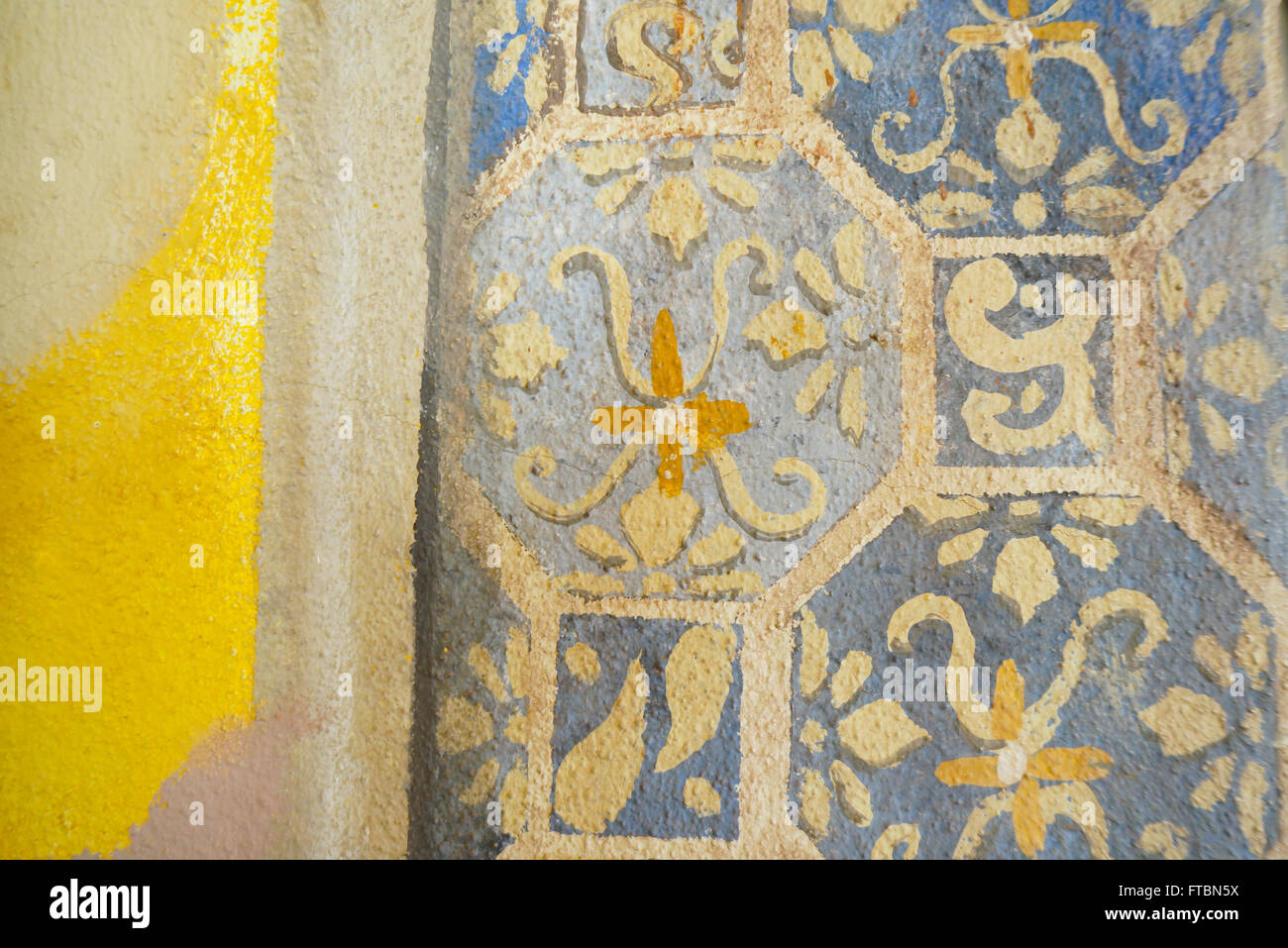 Faux painted tiles on wall of home in Mexico Stock Photo: 101061686 ...