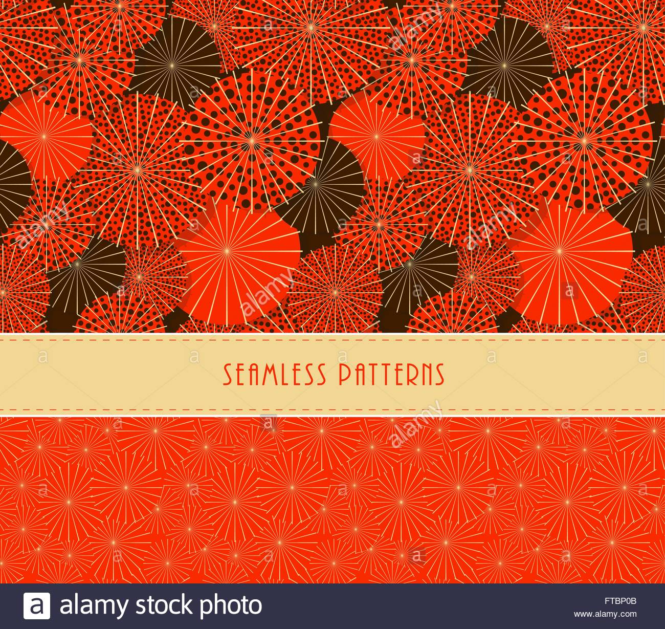A Set Of Two Japanese Style Umbrella And Fireworks Seamless Patterns
