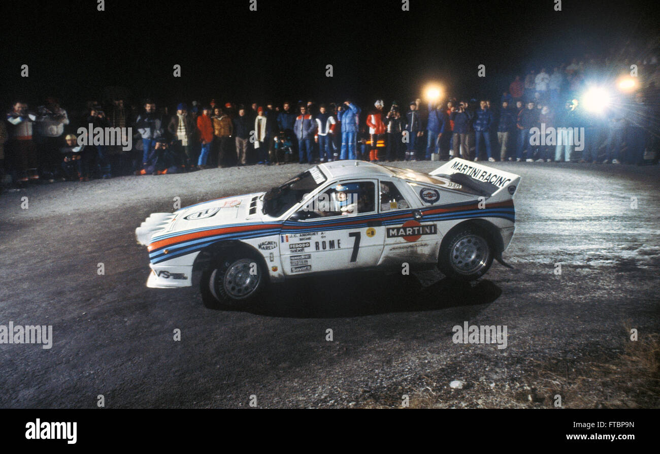 1983 Car Stock Photos Images Alamy Chevy Monte Carlo Jean Claude Andruet Driving A Lancia 037 Group B On Stage In The